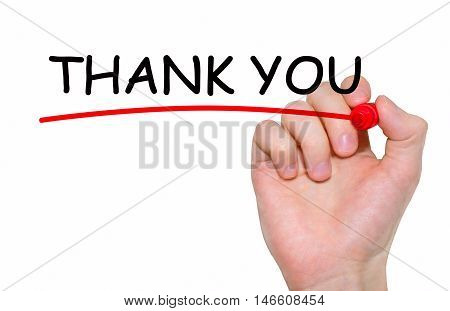 Hand writing inscription Thank You with marker concept