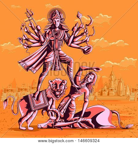 Indian Goddess Durga killing Mahishasura. Vector illustration