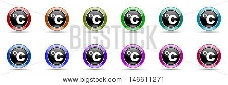 celsius round glossy colorful web icon set