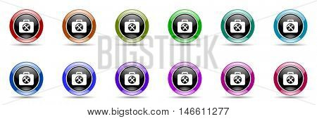 toolkit round glossy colorful web icon set