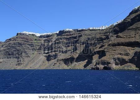 The volcanic island Nea Kameni in Santorini Greece