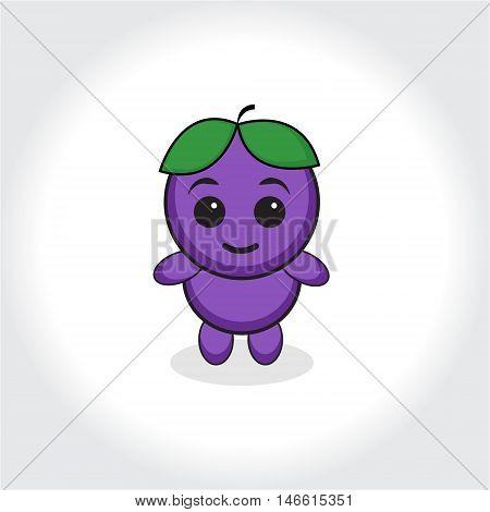 Grapes character plum character. Grapes or plums mascot logo. Vector illustration