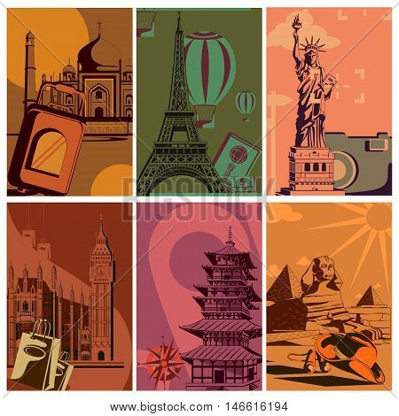 Vintage Travel poster with world famous monument. Vector illustration