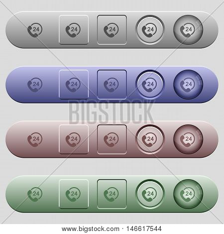 One day service icons on rounded horizontal menu bars in different colors and button styles