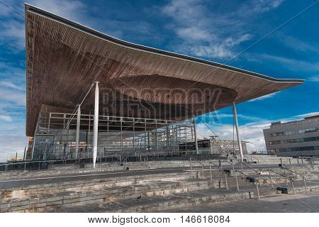 Editorial CARDIFF, UK - SEPTEMBER 9, 2016: The Senedd, also known as the National Assembly building, was opened by Queen Elizabeth II on 1 March 2006 in Cardiff, South Wales and is the location of the Welsh Parliament.
