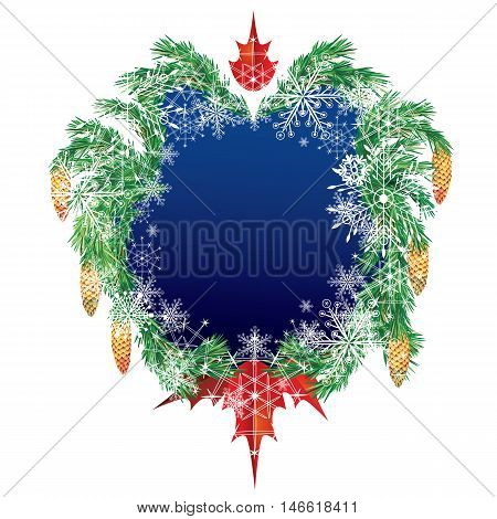 Christmas vector frame with fir cones and snowflakes.