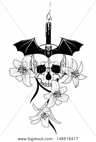 vector illustration of skull candle lily and bat in black and white