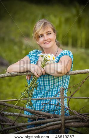 portrait of a beautiful girl with floiwers
