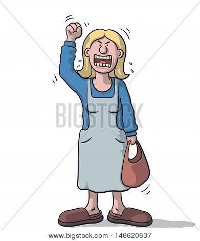 Cartoon Woman Very Angry
