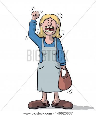 Woman standing angry