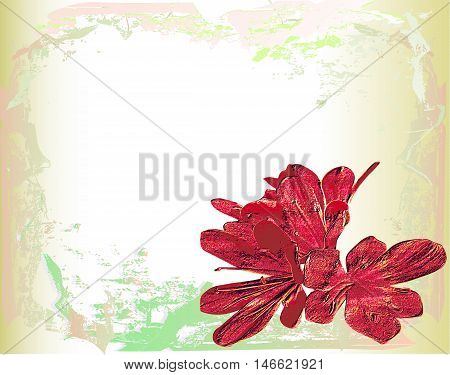 Vintage cracked paper with red exotic relief flower. Old blank parchment with cracks and embossed flower