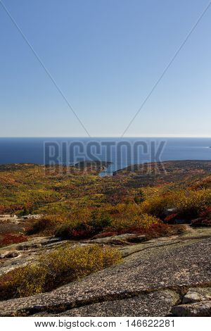 The natural beauty of the Acadia National Park in Bar Harbor (Maine USA) from the Cadillac Mountain during the indian summer with changing foliage of fall