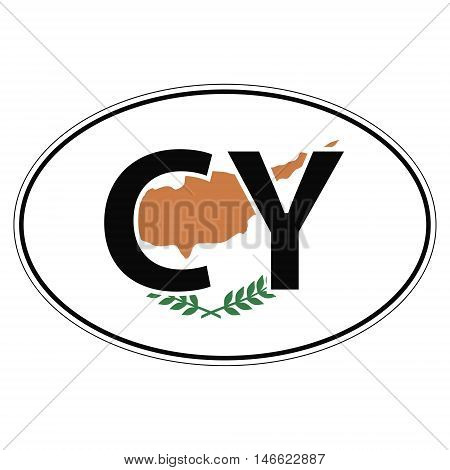 Sticker on car oval, ellipse, flag Cyprus with the inscription CY vector for print or website design for language buttons poster