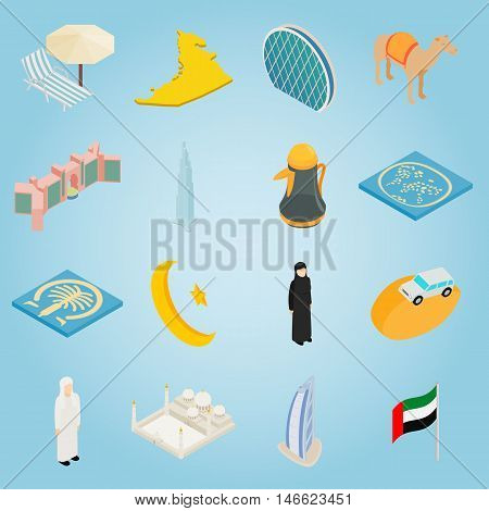 Isometric uae icons set. Universal uae icons to use for web and mobile UI, set of basic uae elements vector illustration