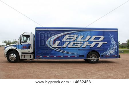 Spencer Wisconsin - September 11 2016 Bud Light beer delivery truck Bud Light is a leading provider of American beer