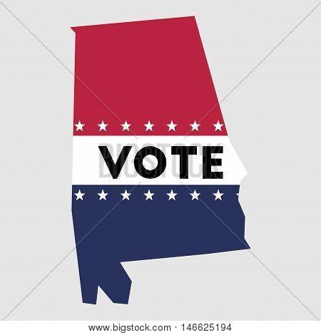 Vote Alabama State Map Outline. Patriotic Design Element To Encourage Voting In Presidential Electio