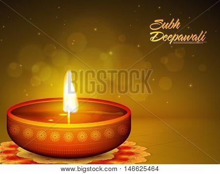 Glossy realistic illuminated Oil Lamp (Diya) on beautiful rangoli, Creative glowing festive background, Elegant Greeting Card design for Indian Festival, Shubh Deepawali (Happy Deepawali) celebration.