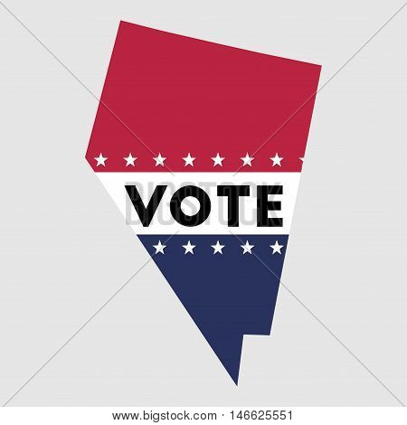 Vote Nevada State Map Outline. Patriotic Design Element To Encourage Voting In Presidential Election