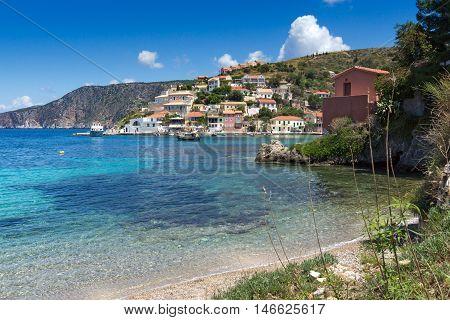 Beach of Assos village and beautiful sea bay, Kefalonia, Ionian islands, Greece
