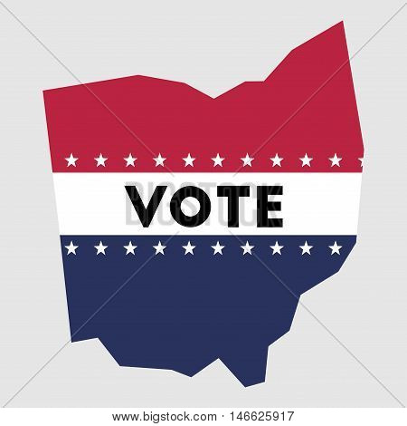 Vote Ohio State Map Outline. Patriotic Design Element To Encourage Voting In Presidential Election 2