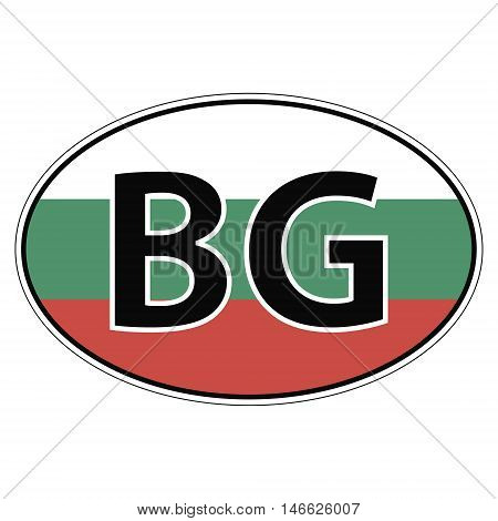 Sticker on car oval, ellipse, flag Bulgaria with the inscription BG vector for print or website design for language buttons