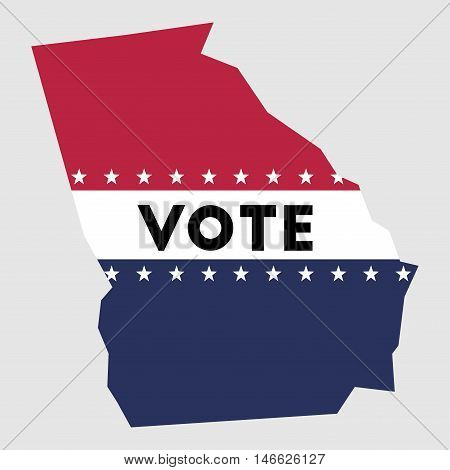 Vote Georgia State Map Outline. Patriotic Design Element To Encourage Voting In Presidential Electio