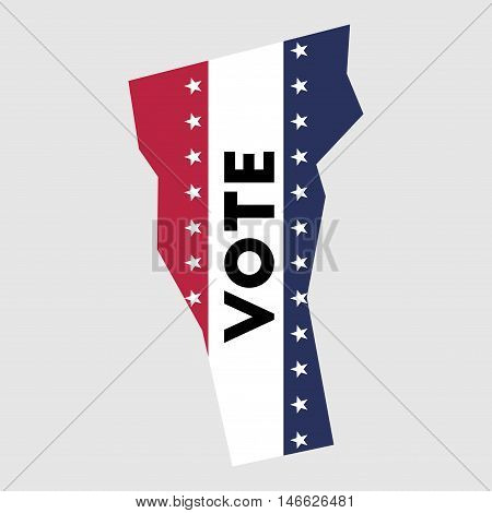 Vote Vermont State Map Outline. Patriotic Design Element To Encourage Voting In Presidential Electio