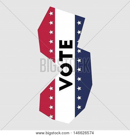 Vote New Jersey State Map Outline. Patriotic Design Element To Encourage Voting In Presidential Elec