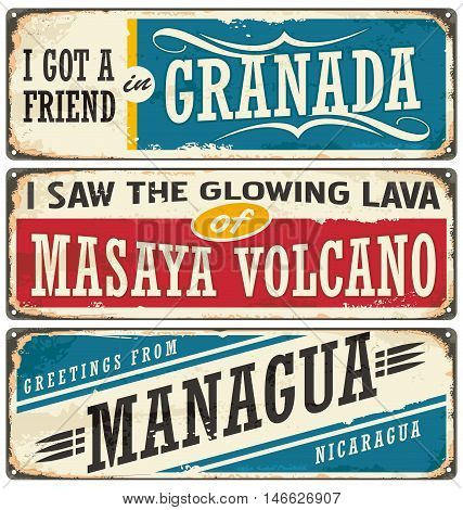 Nicaragua signs collection with popular touristic destinations. Travel souvenirs set with cities in Nicaragua on rusty scratched metal background.