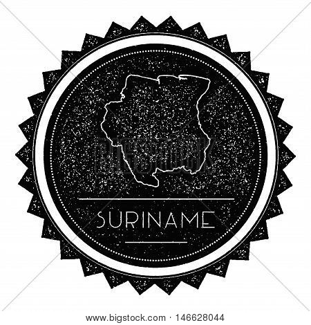Suriname Map Label With Retro Vintage Styled Design. Hipster Grungy Suriname Map Insignia Vector Ill