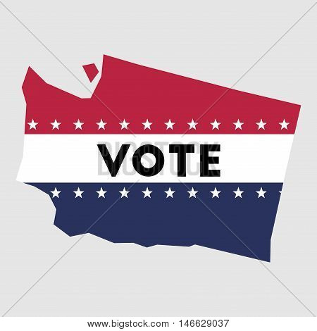 Vote Washington State Map Outline. Patriotic Design Element To Encourage Voting In Presidential Elec