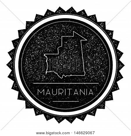 Mauritania Map Label With Retro Vintage Styled Design. Hipster Grungy Mauritania Map Insignia Vector