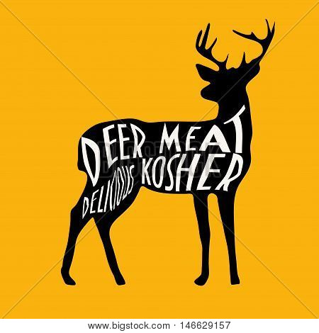 Vintage label with Deer Typography is designed to use as kosher venison sign in your shop, pub menu symbol. Text