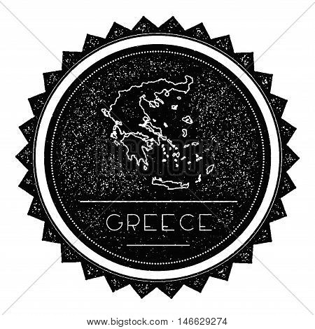 Greece Map Label With Retro Vintage Styled Design. Hipster Grungy Greece Map Insignia Vector Illustr