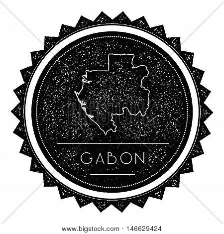 Gabon Map Label With Retro Vintage Styled Design. Hipster Grungy Gabon Map Insignia Vector Illustrat