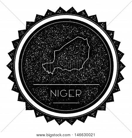 Niger Map Label With Retro Vintage Styled Design. Hipster Grungy Niger Map Insignia Vector Illustrat