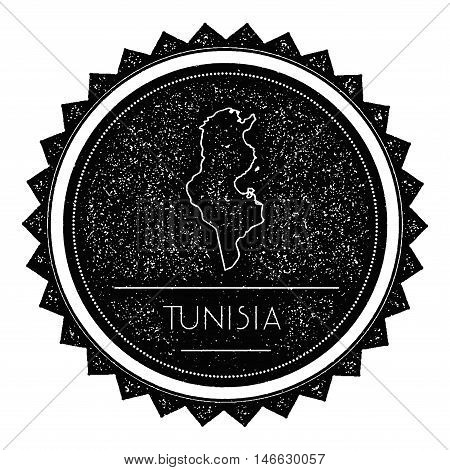 Tunisia Map Label With Retro Vintage Styled Design. Hipster Grungy Tunisia Map Insignia Vector Illus