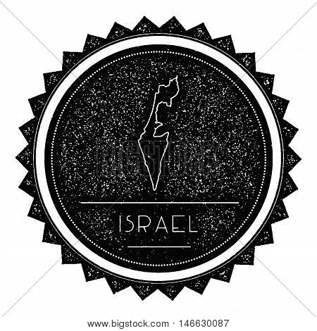 Israel Map Label With Retro Vintage Styled Design. Hipster Grungy Israel Map Insignia Vector Illustr