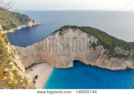 Blue waters of Navagio Shipwreck beach, Zakynthos, Greece