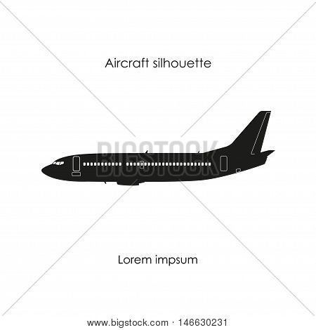 Black silhouette of a civil airplane on a white background. Isolated image. Vector illustration
