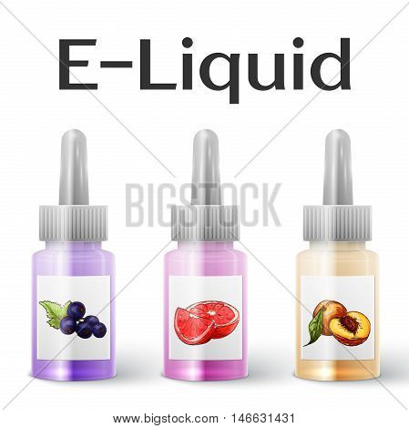 Vector E-Liquid illustration of different flavor. Icons of E-Liquid. The taste of the electronic cigarette