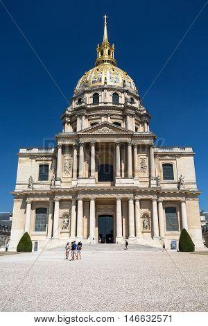 PARIS FRANCE - AUGUST 15 2016: View of Dome des Invalides burial site of Napoleon Bonaparte Paris France