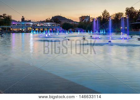 Sunset over Singing Fountains in City of Plovdiv, Bulgaria Tsar Simeon Garden