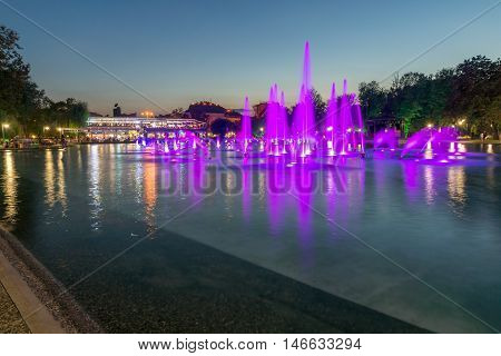 Sunset view of Singing Fountains in City of Plovdiv, Bulgaria Tsar Simeon Garden