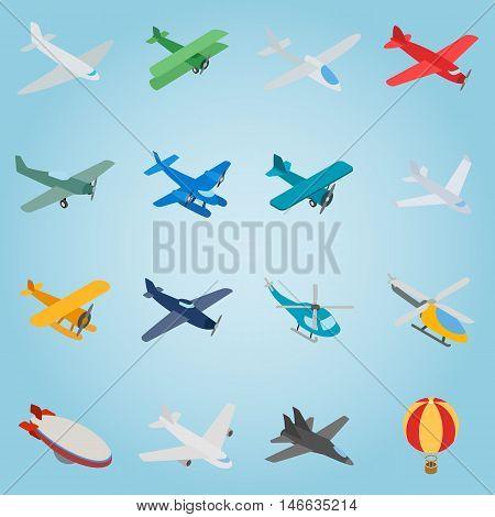 Isometric aviation icons set. Universal aviation icons to use for web and mobile UI, set of basic aviation elements vector illustration