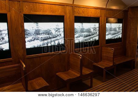POLAND, KRAKOW - MAY 27, 2016: Exhibition on the theme of life Krakow people during the Second World War. Schindler's Factory Museum in Krakow.