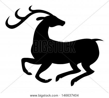 Vector illustrations of silhouette of prancing beautiful deer