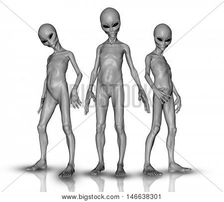 3D render of a group of aliens