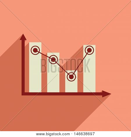 Flat web icon with long  shadow economic graph