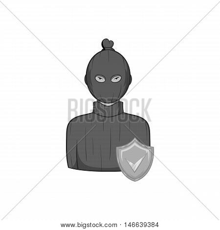 Robbery insurance icon in black monochrome style on a white background vector illustration
